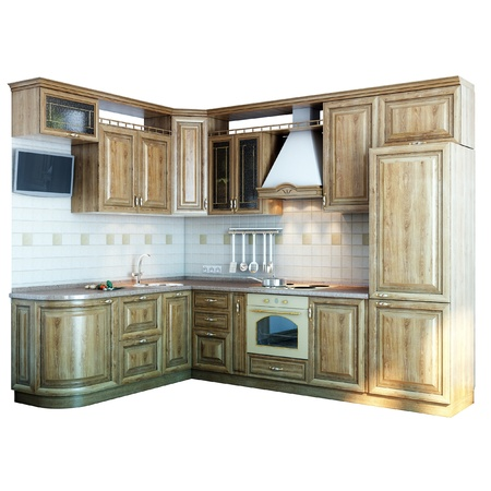 wood kitchen closeup  isolated on white version