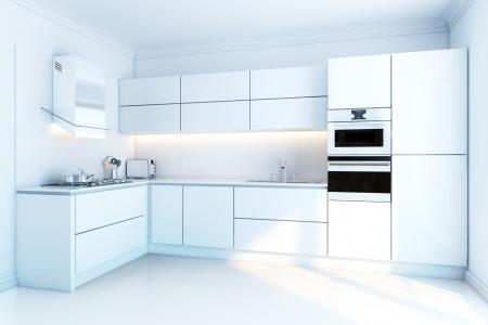 Diseño de interiores de cocina limpio blanco moderno Foto de archivo - 14260185