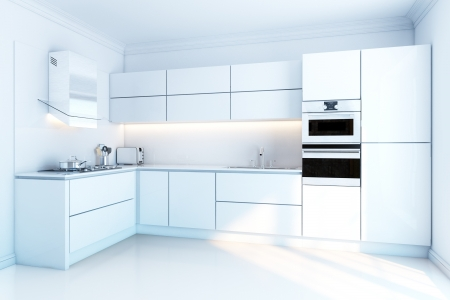 kitchen cabinet: interior design of clean modern white kitchen