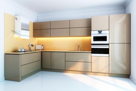 neue Küche Interieur mit braunen Lack-Boxen Fassaden