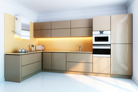 kitchen appliances: new kitchen interior with brown lacquer boxes facades
