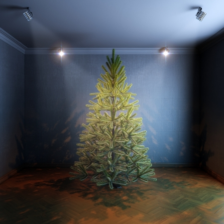 Christmas Tree in room with haze light