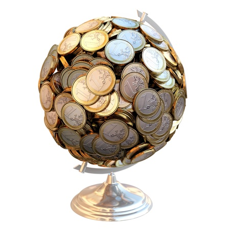 Desktop Globe created out of money  For gifts as a metaphor for success in business isolated on white background  top view version