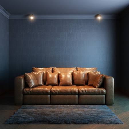 living room sofa: interior for the rest  version with brown leather sofa and gray carpet  Stock Photo