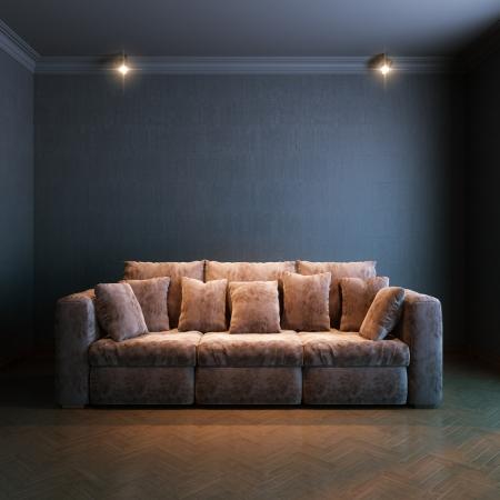 interior for the rest  version with brown velvet sofa  免版税图像