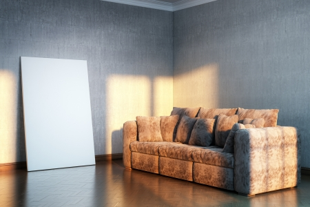 complement: interior for the rest  version with brown velvet sofa and empty frame for picture  Stock Photo