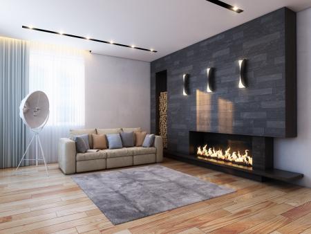 new interior design in minimalist style  color version Stock Photo - 14943439