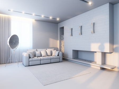 new interior design in the style of minimalism  version in gray material  photo