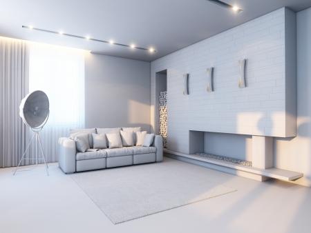 nieuwe interieur in de stijl van minimalisme versie in grijs materiaal Stockfoto