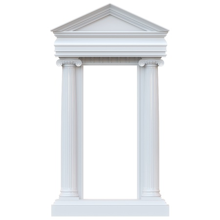 3d temple: Marble Columns Isolated on white background  glossy version