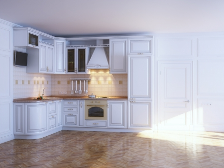 Classic kitchen cabinets in new white interior with parquet