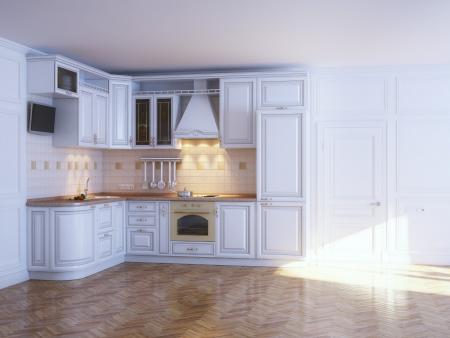 Klassieke keuken kasten in een nieuw wit interieur met parket