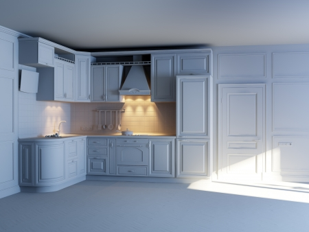 Classic kitchen cabinets in new interior  grey materials  photo