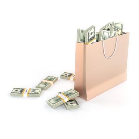 Golden papieren zak vol geld geïsoleerd op witte achtergrond Stockfoto