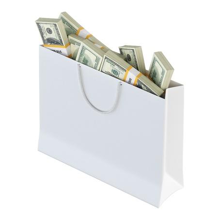 White paper bag full of money  isolated on white background version 1 Stock Photo - 16572956