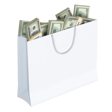white paper bag: Bolsa de papel blanca llena de dinero aislados en fondo blanco versi�n 2