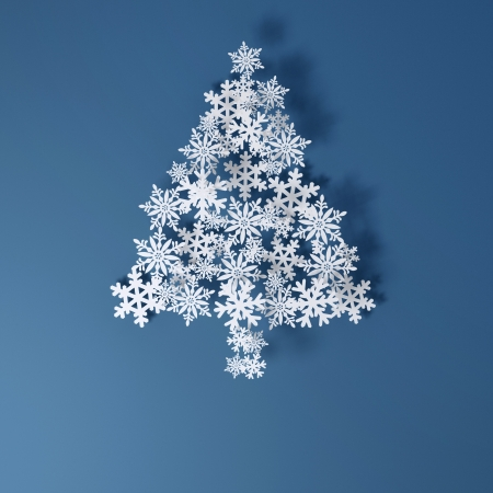 Christmas Card Application from paper snowflakes  Space for text freely   version on a blue background