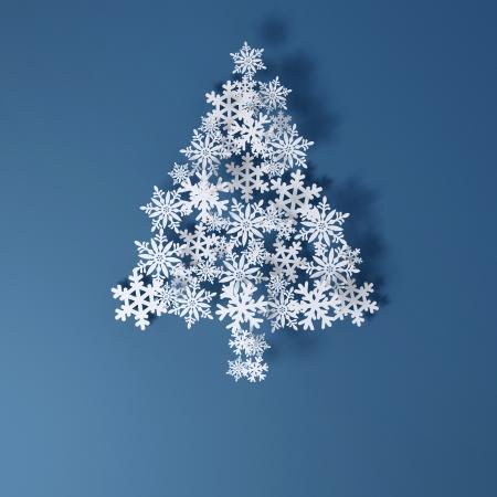 Kerstkaart Toepassing van papier sneeuwvlokken Ruimte voor tekst vrij versie op een blauwe achtergrond