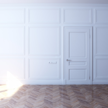 new white room with door in the sun  front view Stock Photo - 16572962