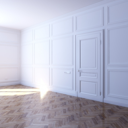 new white room with parquet flooring in the sun photo