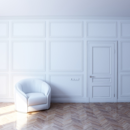 minimalist apartment: new white room with white leather chair in the sun