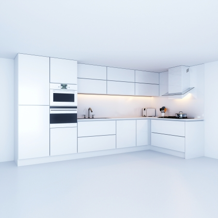 kitchen cabinets: Modern kitchen cabinets in new white interior Stock Photo
