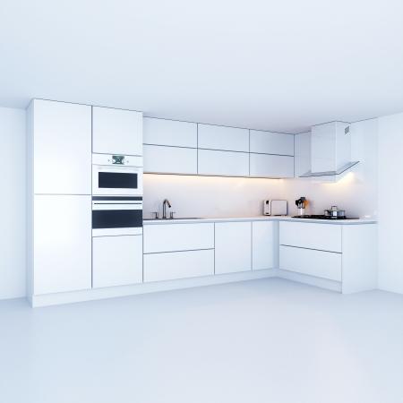 Moderne keuken kasten in nieuw wit interieur