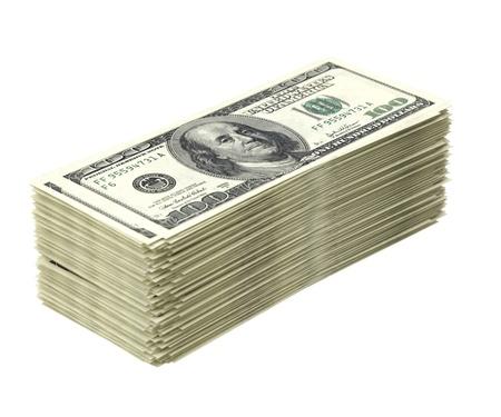 mucho dinero: Gran pila de dinero aislado en versión blanco dólar