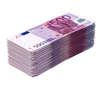 billets euros: Gros tas d'argent isolé sur blanc euros la version