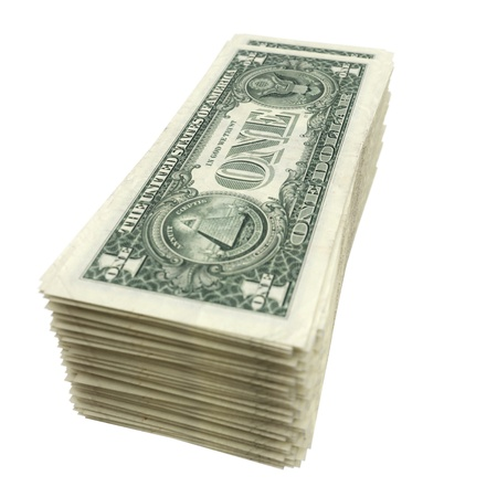 stack of American money isolated on white background photo