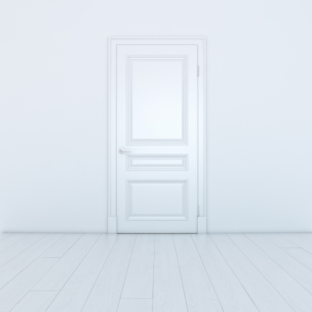 Empty White Interior With A Door photo