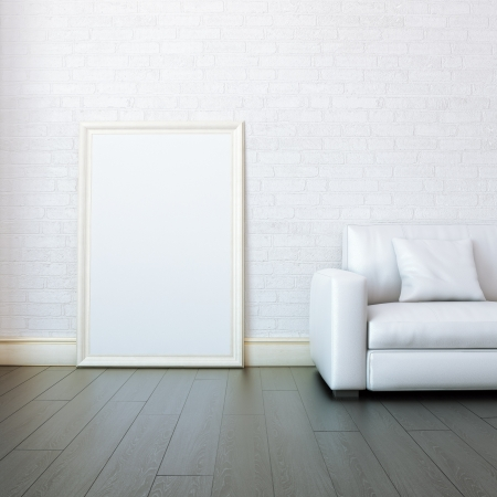 New White Room With Blank Frame For Painting photo