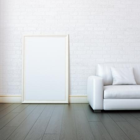 Nieuwe White Room Met Lege Frame voor het schilderen Stockfoto