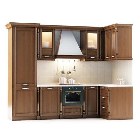 Classic Wooden Kitchen Isolated On White Standard-Bild