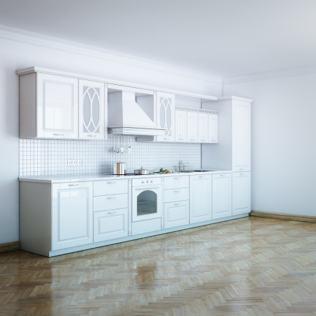 Classic Luxury White Kitchen With Hard Wood Stock Photo - 17219976