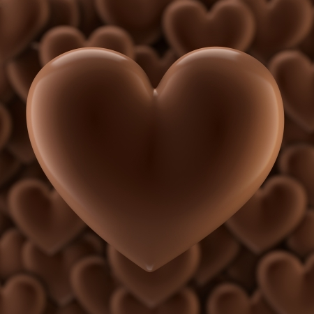 Sweet Chocolate Hearts Background For Valentines Day Greeting Card