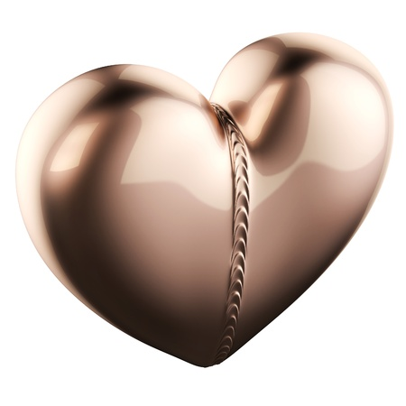 weld: Golden Pendant In Heart Shape With Weld Bead   Isolated On White
