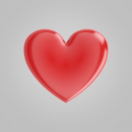 Beautiful Glossy Heart On Grey Background For Valentines Day Greeting Card photo