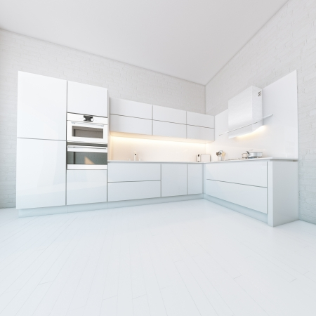 kitchen cabinet: Luxury White Kitchen In Hi-Tech Style Stock Photo