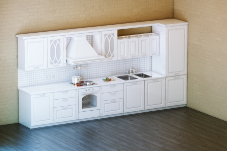 Classic White Kitchen Cabinet With Parquet Floor photo