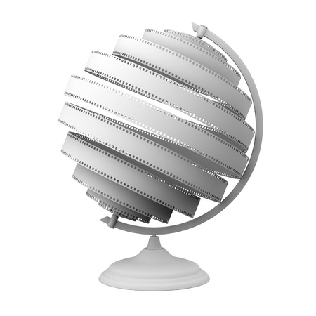 Abstract Globe With White Film  Isolated On White  photo