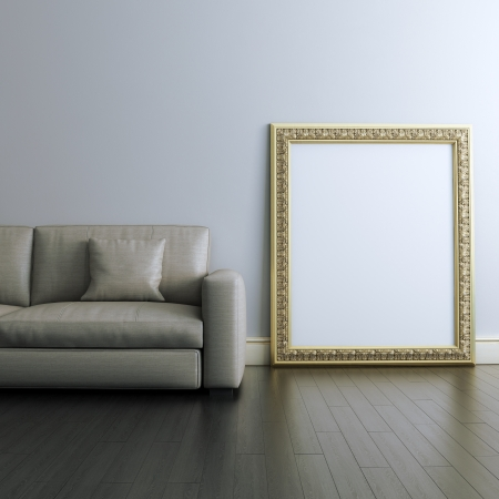laminated: Gallery interior Design With Golden Blank Carved Frame Stock Photo