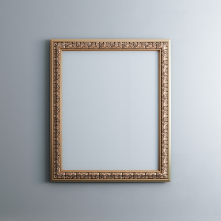 abstract backround: Classic Golden Carved Frame On White Wall  Rectangle Vertical Version
