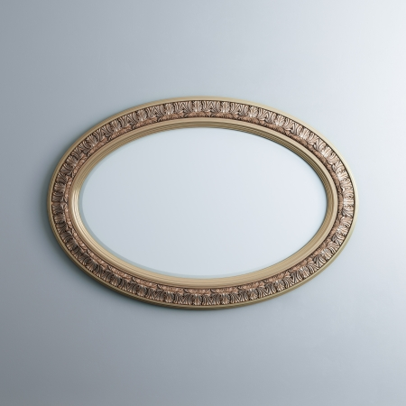 exposition: Classic Golden Carved Frame On White Wall  Oval Horizontal Version