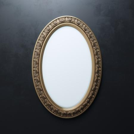 oval frame: Classic Golden Carved Frame On Black Wall  Oval Vertical Version