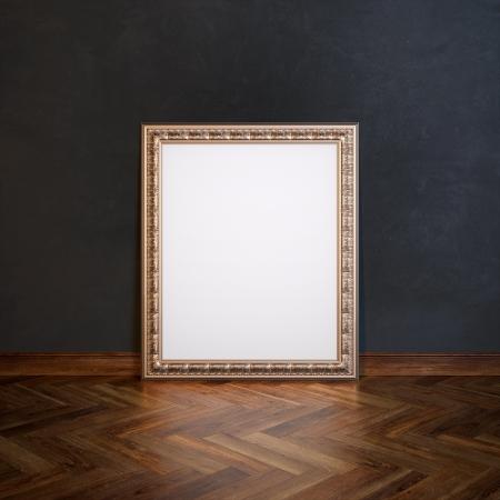 laminate flooring: Classic Frame In Galerry Interior  Black Wall Version