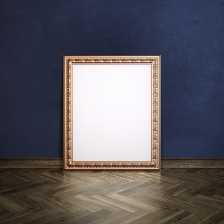 laminate flooring: Classic Golden Carved Frame In Galerry Interior  Navy Blue Wall Version