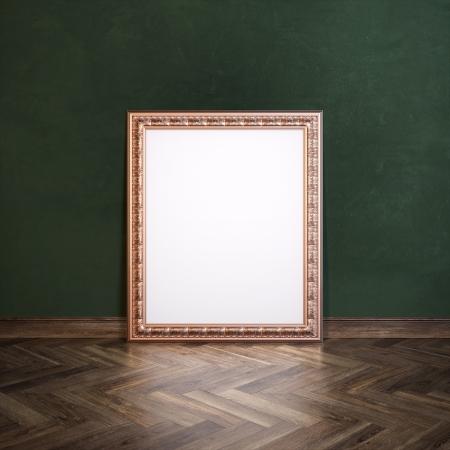 laminate flooring: Classic Golden Carved Frame In Galerry Interior  Dark Green Wall Version