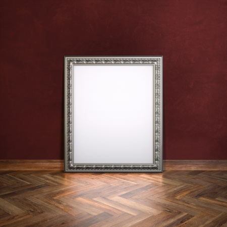 laminate flooring: Classic Golden Carved Frame In Galerry Interior  Maroon Wall Version