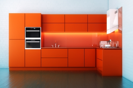 Red Hi-Tech Luxury Kitchen Cabinet Stock Photo - 18148119